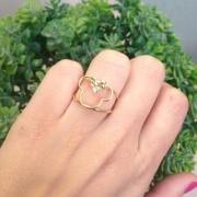 Anel feminino Minnie com Laço e Pedra Banhado a Ouro