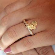 Anel Menino(a) e Coração  Banhado a Ouro