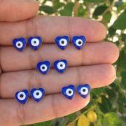 Brinco olho grego coração Azul Banhado a Ouro