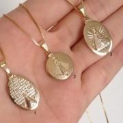 Colar Medalha Santa Nossa Senhora Aparecida Banho de Ouro