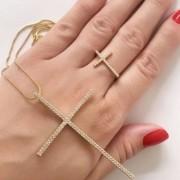Conjunto Gargantilha Cruz + Anel Cruz Cravejado Banhado a Ouro