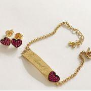 Conjunto Infantil Chapinha Coração Rubi Banho de Ouro Princesa