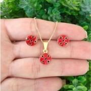 Conjunto Kit Infantil Brinco/Pingente Ladybug Banhado a Ouro 18k