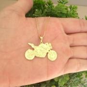 Corrente com pingente moto banhado a ouro