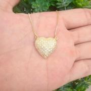 Gargantilha Coração 2mm Cravejada Banhado A Ouro