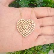 Gargantilha Coração Grande 3mm Pedra Quadrada Banhado A Ouro
