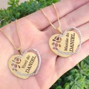 Gargantilha coração personalizada menino ou menina banhada a ouro