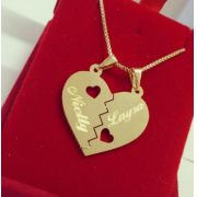 Gargantilha Coração Personalizado Banhada a Ouro