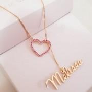 Gargantilha Gravatinha Coração Cravejado Nome Personalizado Banhado a Ouro