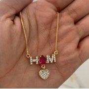 Gargantilha Iniciais Pedra Gota Rubi Coração Banhado a Ouro