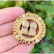 Gargantilha Mandala Dog Cachorro Personalizada Banhado a Ouro