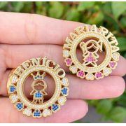 Gargantilha Mandala Menino(a) Cravejado(a) Coração Banhado a Ouro