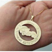Gargantilha Mandala Personalizada Dados do Nascimento Banhado a Ouro