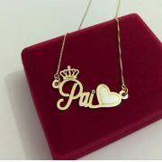 Gargantilha Manuscrito Personalizada Coração e Coroa Banhado a Ouro 18k
