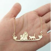 Gargantilha Personalizada Cachorro e Gato Banhado a Ouro