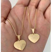 Gargantilha Personalizada Coração Letra Inicial Banhada a Ouro
