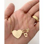 Gargantilha  Personalizado Coração Menina Banhada a Ouro