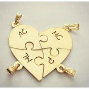 Gargantilha Quebra Cabeça em Formato de Coração Banhado a Ouro