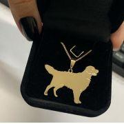 Gargantilha Raça de Cachorro em Banho de Ouro