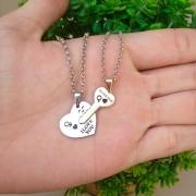 Kit corrente casal coração e chave personalizada