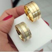 Par de Aliança 10mm Feminina Frisos Cravejados Prata Banhado a Ouro 18k