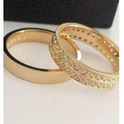Par de Aliança 5mm Reta Casamento Noivado Prata com Banhado a Ouro