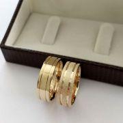 Par de Aliança 6mm Jateada, Masculina Lisa em Prata Banhado a Ouro