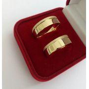 Par de Aliança 8mm Lateral Jateada Prata com Banhado a Ouro