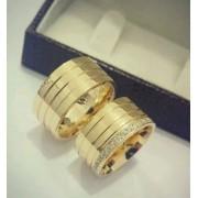 Par De Aliança De 10mm Prata C/ Banho De Ouro 18k