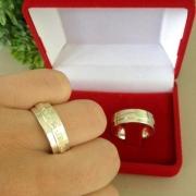 Par de aliança em prata feminina com pedras -aliança de namoro