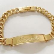 Pulseira Chapa Personalizada Banhada a Ouro