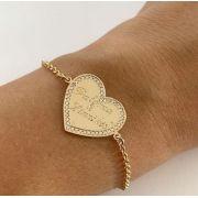 Pulseira Coração Nomes Personalizados Borda Cravejada Banhado a Ouro