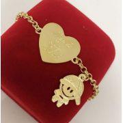 Pulseira Coração Personalizado Pingente Menina(a) Banhado a Ouro