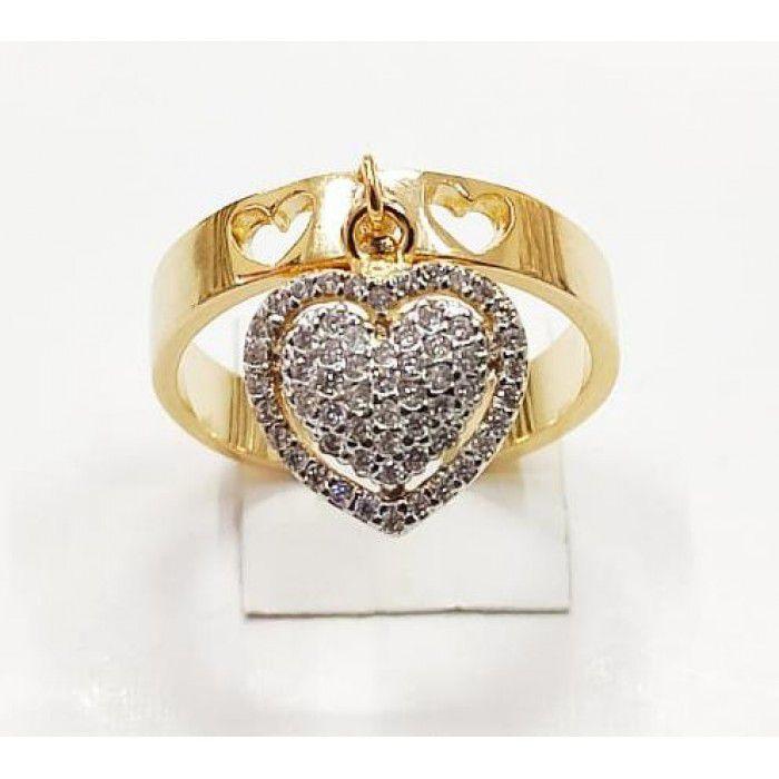 Anel com Pingente de Coração Pedras Cravejadas Banhado a Ouro