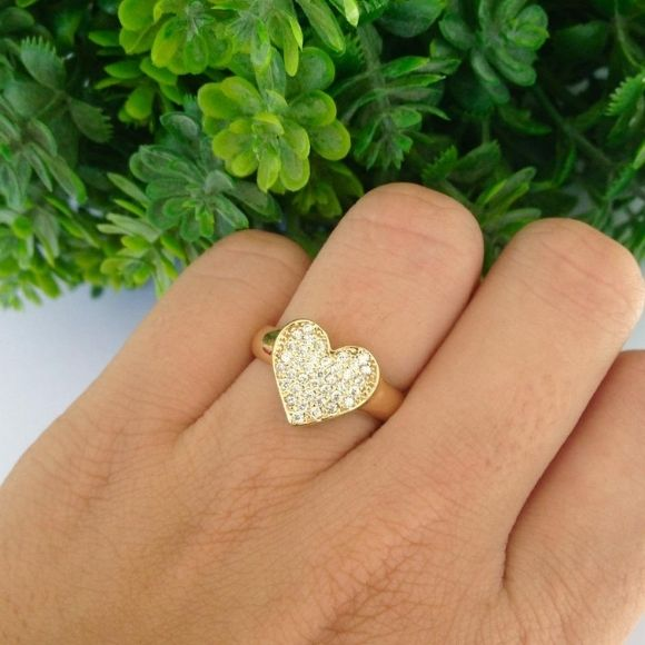 Anel Coração Cravejado Banhado A Ouro
