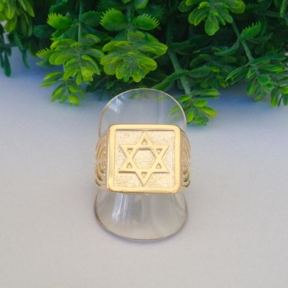 Anel Estrela De Davi Banhado A Ouro