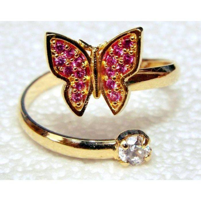 Anel falange borboleta vazado com Ponto de luz Banhado