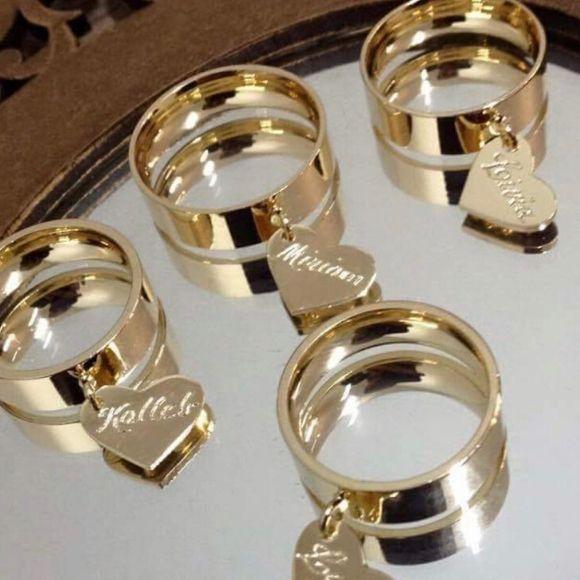 Anel Feminino Pingente Corações Personalizado Banhado a Ouro