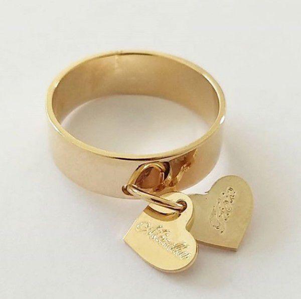 Anel Feminino Pingentes Corações Gravado Personalizado Banho Ouro