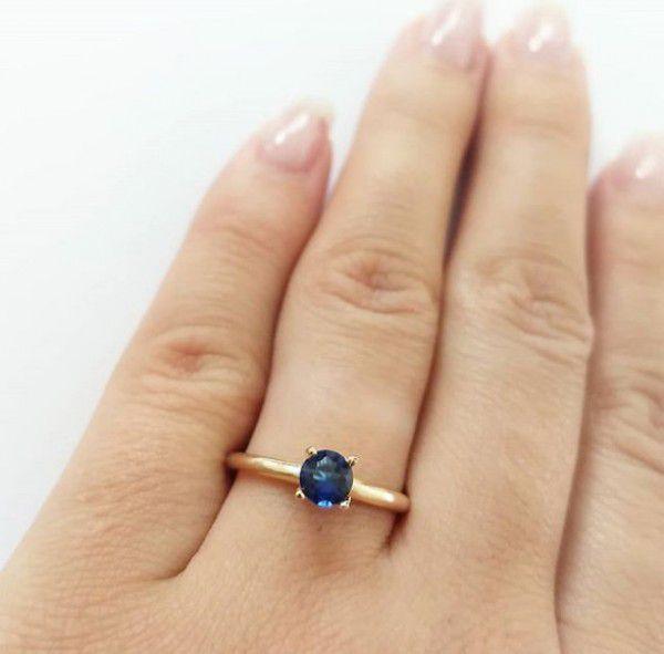 Anel Pedra Azul em Zircônia em Banho de Ouro