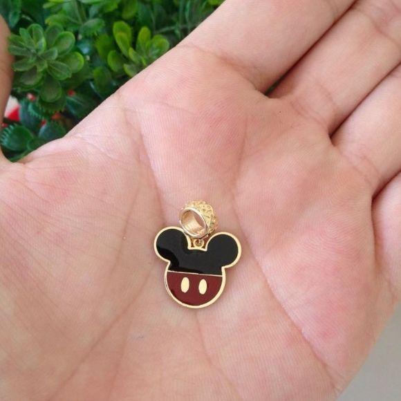 Berloque Minnie ou Mickey Banhado a Ouro