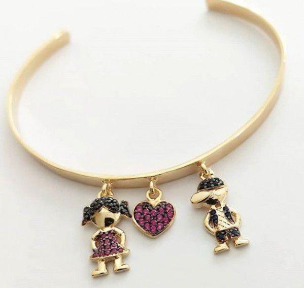 Bracelete Ajustável Meninos(as) Cravejado em Zircônias Banho de Ouro