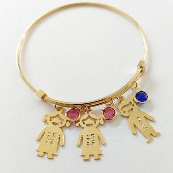 Bracelete com Pingentes Nome Personalizado Banho de Ouro Filhos(as)