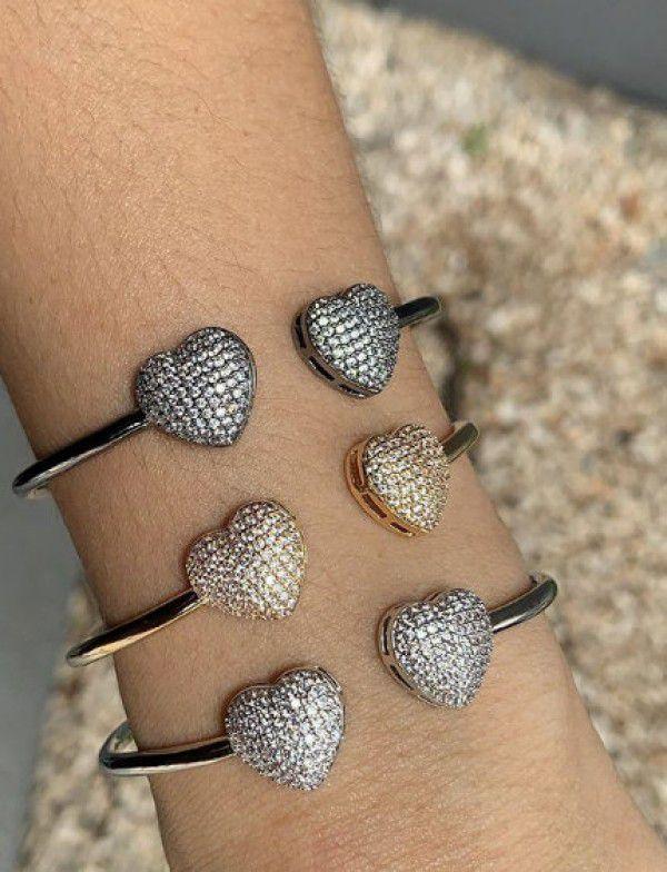 Bracelete Coração Banho de Ouro/ Banho Rhodium/ Banho Rhodium Negro