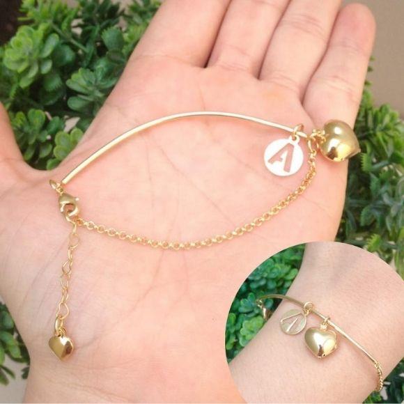 Bracelete coração + Inicial banhado a ouro