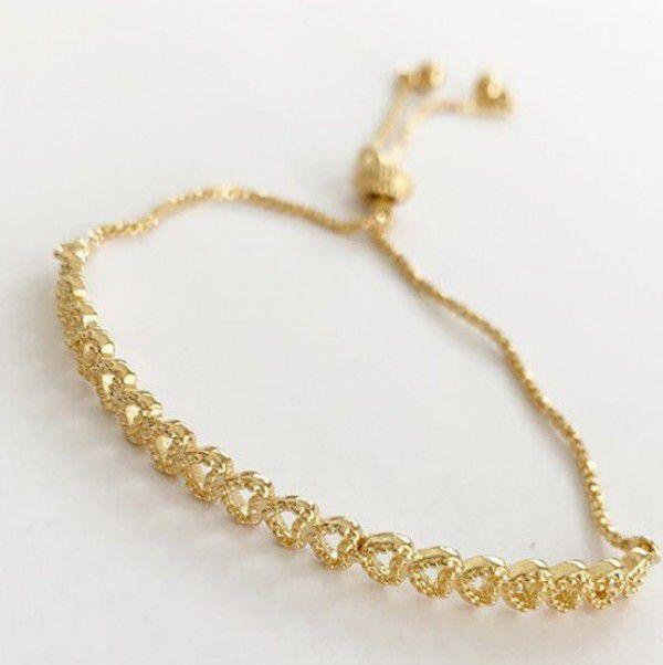 Bracelete Corações em Banho de Ouro