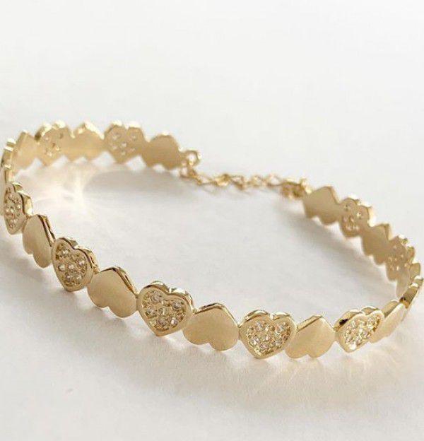 Bracelete Corações Lisos Cravejados em Banho de Ouro
