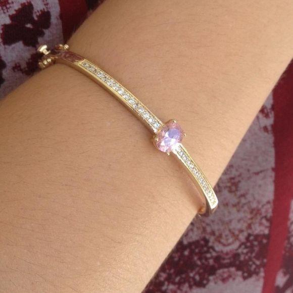 Bracelete Cravejado Luxo Banhado a Ouro 18k
