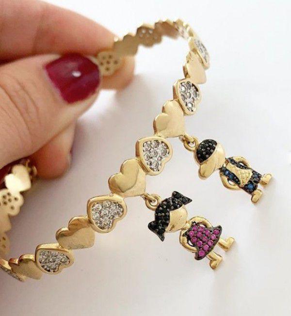Bracelete Meninos(as) Casal Cravejado Banho de Ouro Filhos(as)