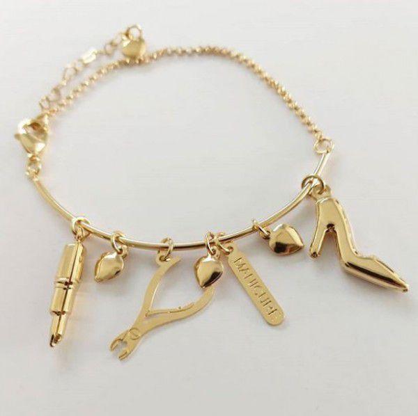 Bracelete Personalizado Profissão Pingentes em Banho de Ouro